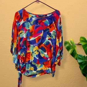 Life style multicolored side knot top medium